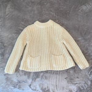 Polo girls' sweater with pockets, buttons up back